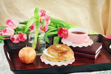 Breakfast Tray and FLowers