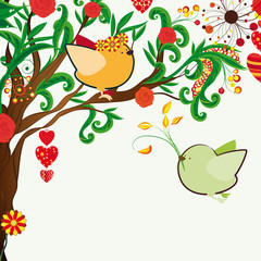 Floral spring background. Couple of birdies on the bloosom fanta