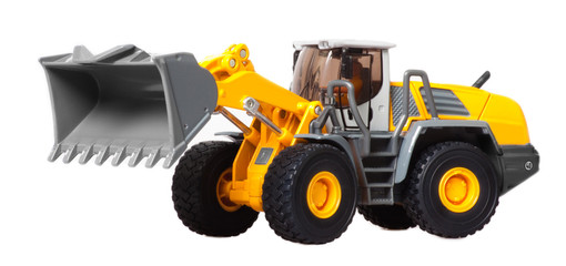 toy heavy bulldozer isolated over white background