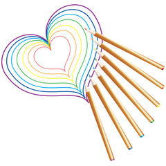 Pencils, Drawing the heart.