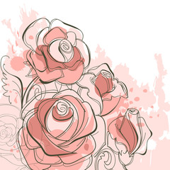 Tuinposter Abstract bloemen Grunge roses