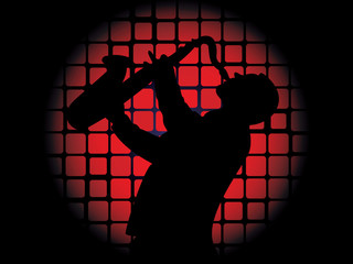 Silhouette of saxophone player on luminous red background