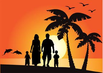 vector happy family on vacation
