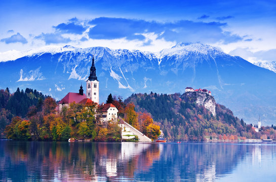 Bled with lake, island,  Slovenia, Europe