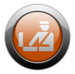 "Orange Metallic Orb Button ""Customs Symbol"""