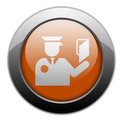 "Orange Metallic Orb Button ""Immigration Symbol"""
