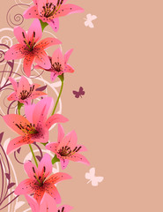 Vertical pink spring background with lilies and flourishes