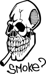Skull with a cigarette.Healthy Lifestyle.