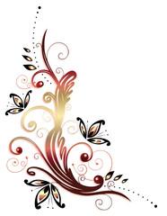 Ranke, flora, filigran, Blumen, Blüten, gold, rot
