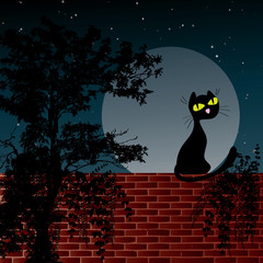 Night scene with moon and black cat sitting on the wall