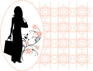 Silhouette elegant beautiful woman in the decorative frame