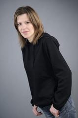 girl posing in casual clothing