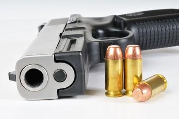 40 caliber pistol with ammunition