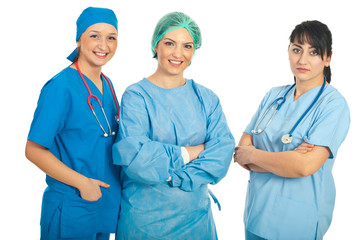 Happy and serious doctors women
