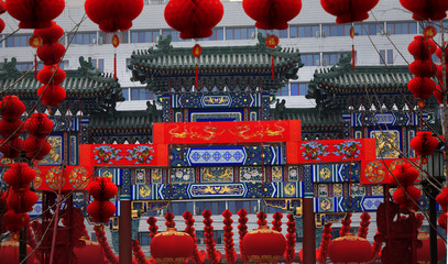 Ornate Chinese Gate  Lucky Red Lanterns Chinese Lunar New Year D