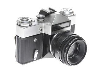 Old camera isolated on white background