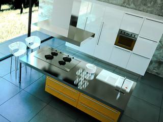 3d Rendering Küche orange weiss von oben