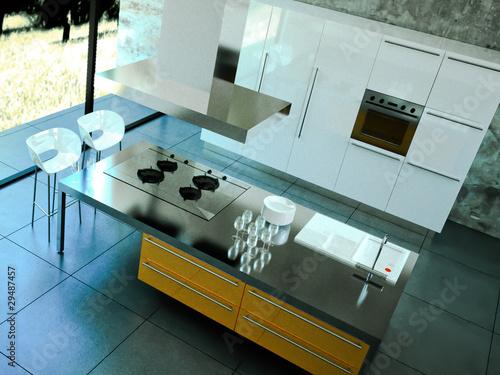 """3d Rendering Küche orange weiss von oben"""" Stockfotos und ..."""