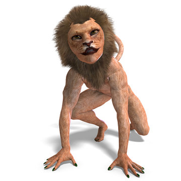 male manticore fantasy creature. 3D rendering with clipping