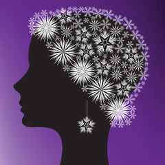 silhouette of a woman's head