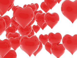 Shiny red hearts falling in love. 3D Celebrations concepts