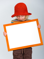 sweet girl with frame and cap