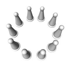 weiße Spielfiguren im Kreis