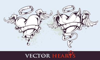 Two tattoo styled hearts
