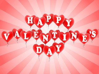 happy valentine's day balloons 3d illustration