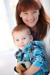 Portrait of happy mother and son