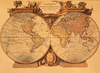 Deurstickers Wereldkaart ancient map of the world