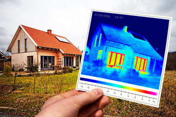 modern one-family house and thermal imaging