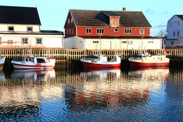 Wall Mural - houses and boats mirroring
