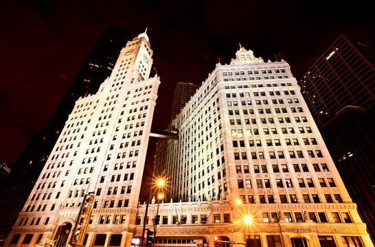 Chicago Downtown City  Night Photography Wrigley Square