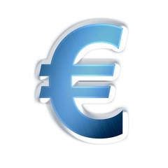 Euro - symbole bleue acier brossé