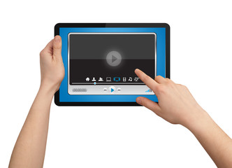 A male hand holding a touchpad media player