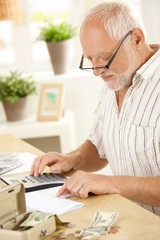 Older man using calculator at home