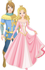 Poster Castle Beautiful prince and princess