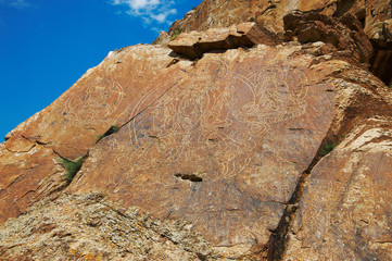 Ancient rock drawings of the Buddha