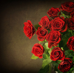 Red Roses. Vintage Greeting Card with Copy-space for Text