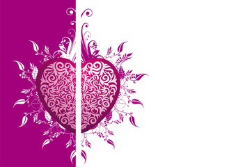 Vector valentine's background with floral heart