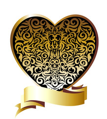 Gold floral heart with ribbon