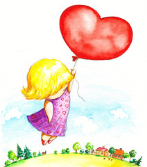 Girl with heart balloon-watercolor.