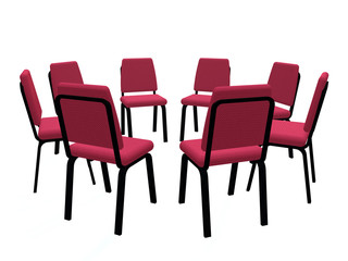 Armchairs placed on a circle