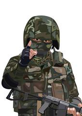 Fotorolgordijn Militair Warning