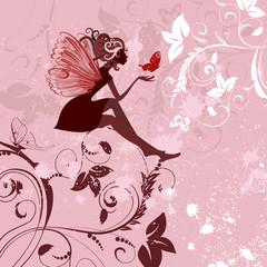 Fotobehang Bloemen vrouw fairy pattern grunge