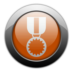 "Orange Metallic Orb Button ""Award Medal"""