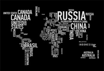 World map: countries of wordcloud