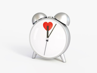 Alarm clock. Hours. Time of love. Valentine's Day.