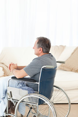 Retired man in his wheelchair